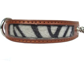 "Safari Collar Brown Zebra Print size 11"" to 13 ⅜"""