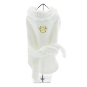 White Gold Crown Cotton Dog Bathrobe size XSmall