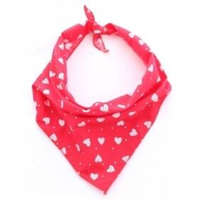"Red Patchwork Hearts Dog Bandana M/L - neck size 17-25"""