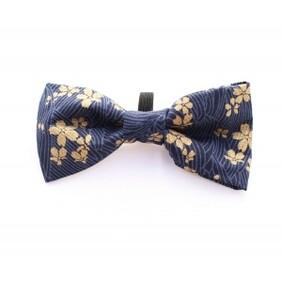 Golden navy mini flower bow tie handmade